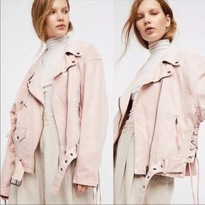 Free People Oversized Lace Up Denim Jacket (H2)